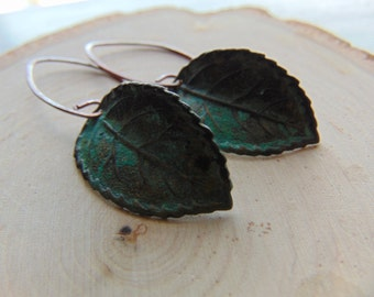 Gorgeous Verdigris leaf earrings, nature inspired earrings, leaf earrings, green leaf earrings,Rusty, leaf jewelry, gift