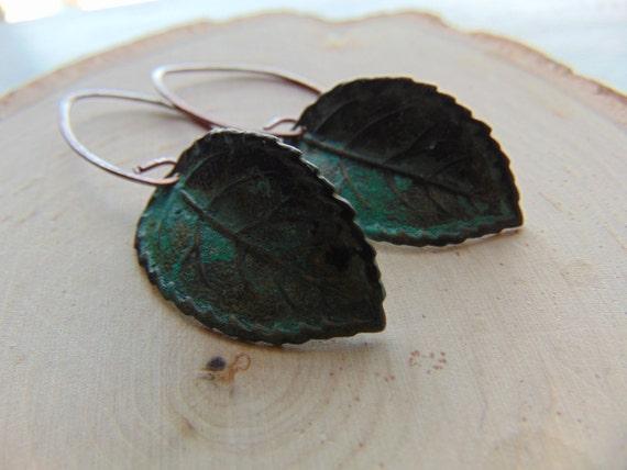 Gorgeous Verdigris leaf earrings, nature inspired earrings, leaf earrings, green leaf earrings,Rusty, leaf jewelry, gift
