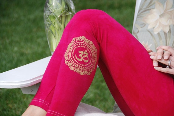 Tall Pink Hand Dyed Yoga Leggings with Optional Hand Painted Chakra Design including Extra Long and Plus Sizes by Splash Dye Activewear