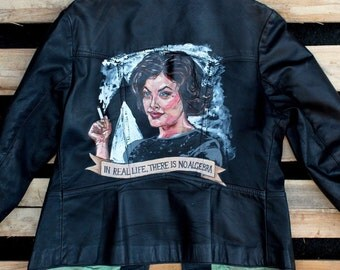 Hand painted Audrey Horne Twin Peaks vintage leather jacket. Uk 14 US 10. David Lynch - Agent Dale Cooper - Fire Walk With Me - coat - art