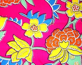 Orange Peony Yellow Peony on Pink Ground-Cotton Printed-Vintage Hand printed-Cotton by yard-Decoration Fabric-Supply every Handcraft-3Y20cm