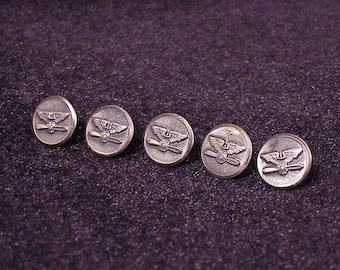 Lot of 5 Vintage WWII Era US Army Air Corps Dark Silver Tone Metal Uniform Buttons, World War II, Sewing, Cufflink Material, 1940's