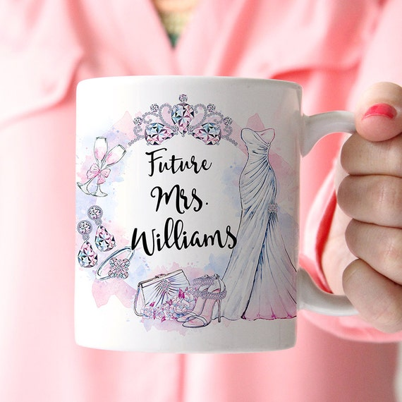 Future Mrs Name Wedding Coffee Mug - Customize with Your Last Name - Great Bridal Shower Gift