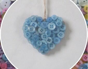 Handmade Light Blue Button Hanging Hearts