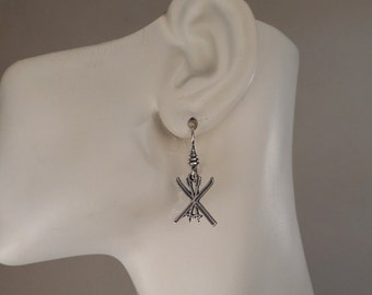 Sterling Silver Ski Earrings, Skier Jewelry, Winter Jewelry Made in Montana Gift for Skier Gift for Her Alpine Skis Cross Country Skis