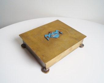 Freemason Brass Box Masonic Symbol Safe Box Decorative Box on Round Legs Old Jewelry Box Secret Society Symbol