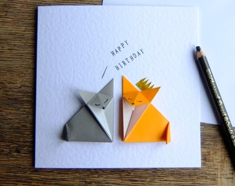 Origami Happy Birthday Orange Fox & Grey Fox Handmade Origami Birthday Card