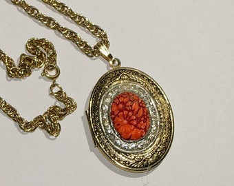 Upcycled Locket with Coral and Rhinestones