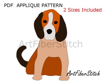 Puppy PDF Applique Template Pattern - available for instant download from ArtFiberStitch