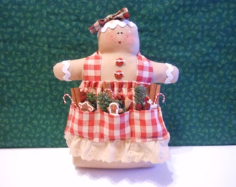 Gingerbread Doll, Gingerbread Baker Doll, Weighted, Holiday Decor, Christmas Decor