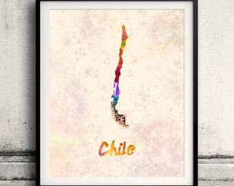 Chile - Map in watercolor - Fine Art Print Glicee Poster Decor Home Gift Illustration Wall Art Countries Colorful - SKU 1724