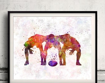 Rugby men players 10 - poster watercolor wall art gift splatter sport soccer illustration print artistic - SKU 1507