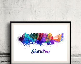 Shantou skyline in watercolor over white background with name of city - Poster Wall art Illustration Print - SKU 1521