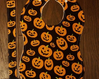 Halloween Holiday Bibs w/ Paci Clips! Boo, Pumpkins & Candy Corn, Skeletons, Ghosts, Pumpkins (Choose Your Own)