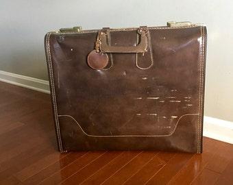 Vintage Brown Suitcase with Luggage Tag Retro Luggage Mid Century Luggage Retro Briefcase