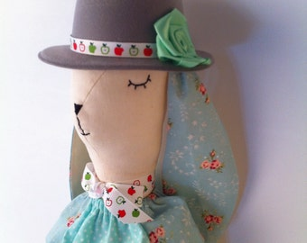 Miss Bunny with the hat - Stuffed Rabbit Plush Toy Doll