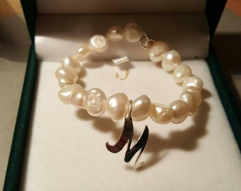 natural Pearl initial bracelet in sterling silver