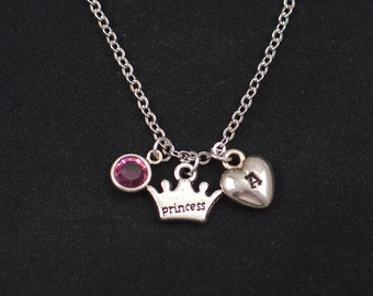 tiny princess crown necklace, initial necklace, birthstone necklace, silver crown charm, monarchy, queen, princess jewelry, gift for her