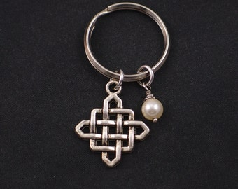 celtic knot keychain, Swarovski pearl choice, silver celtic knot charm keyring, irish celtic jewelry, celtic infinity knot charm,best friend