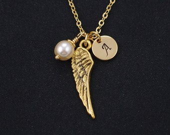 initial necklace, wing necklace, Swarovski pearl choice, gold angel wing charm, feather charm, guardian angel, angel lover, bridesmaid gift