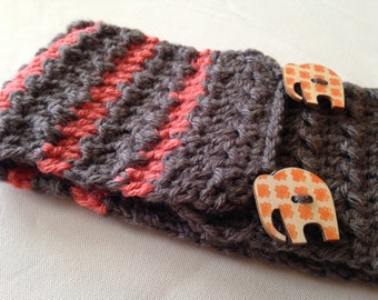 Headband ear warmer taupe orange elephant crochet
