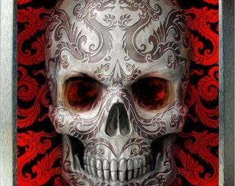 Red Skull Candy Skull design 2oz silver tobacco tin,pill box,storage tin