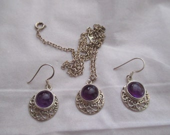 Sterling Silver Filigree Amethyst Pendant Necklace and Earrings