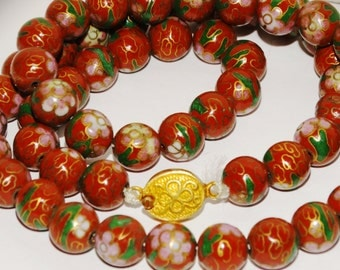 Vintage 1900's Chinese Cloisone (Handpainted) Bead Necklace.