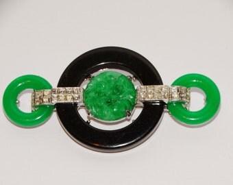 Vintage Kenneth Lane Art Deco Green, Black & Rhinestones Brooch.