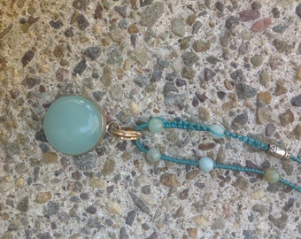 Aqua blue amazonite pendant
