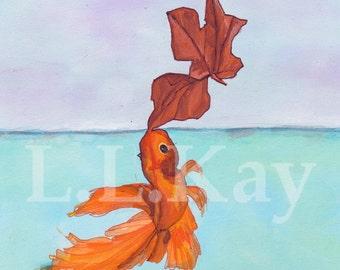 Art Print of Dreamy Goldfish Illustration