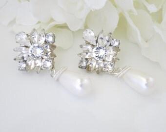 Rhinestone post drop earring, Swarovski rhinestone and pearl bridal earring, Crystal and pearl wedding earring