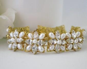 Gold cuff bridal bracelet, Swarovski rhinestone and freshwater pearl wedding bracelet, Vintage style cuff