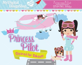 Princess Pilot Clipart, Vector EPS PNG image, Aviation Girl, Kids Role Model, Fly Airplanes Clip Art, Runway, Airport Dog, Scrapbook |C029