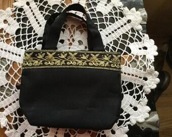 Little Black Satin Bag with Beaded Border