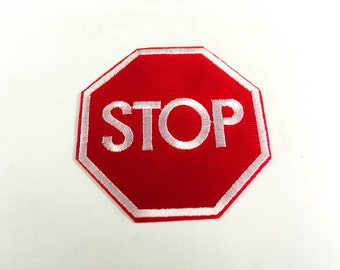 Stop Sign Iron on Patch(L) - STOP Traffic Sign Applique Embroidered Iron on Patch Size 7.3x7.7 cm