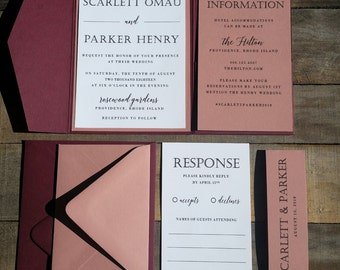 Marsala and Dusty Rose Wedding Invitation Suite, Burgundy and Pink Wedding Invitation, Pocketfold Invitation, Mauve Pink, Burgundy, Modern