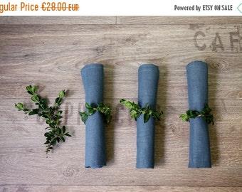 SALE 15% OFF Linen napkins set of 6 - Blue napkin cloths - Wedding napkins - Dinning napkins