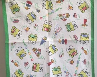Vintage child's  handkerchief Sanrio Kerokero Keroppi 1993 Made in Japan