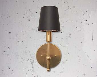 Clean brass sconce.  'Lillian'  Hollywood regency, midcentury modern, solid brass wall sconce