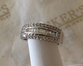 Reserved for Daniell Davis payment 1 of 2 wide 14k white gold Round & Baguette Diamond 7.3mm Wedding Band Ring .50 tw GHI-VS2-I1, size 6.75