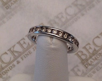 Vintage 14k 28 Diamond Channel Set Eternity Band 2.00 tw JKL-I1, size 8.5 *Rhodium over Yellow Gold