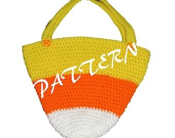 Large Candy Corn Bag PATTERN, Treat Bag Pattern, Trick or Treat Bag Pattern, Halloween Bag Pattern, Crochet Pattern