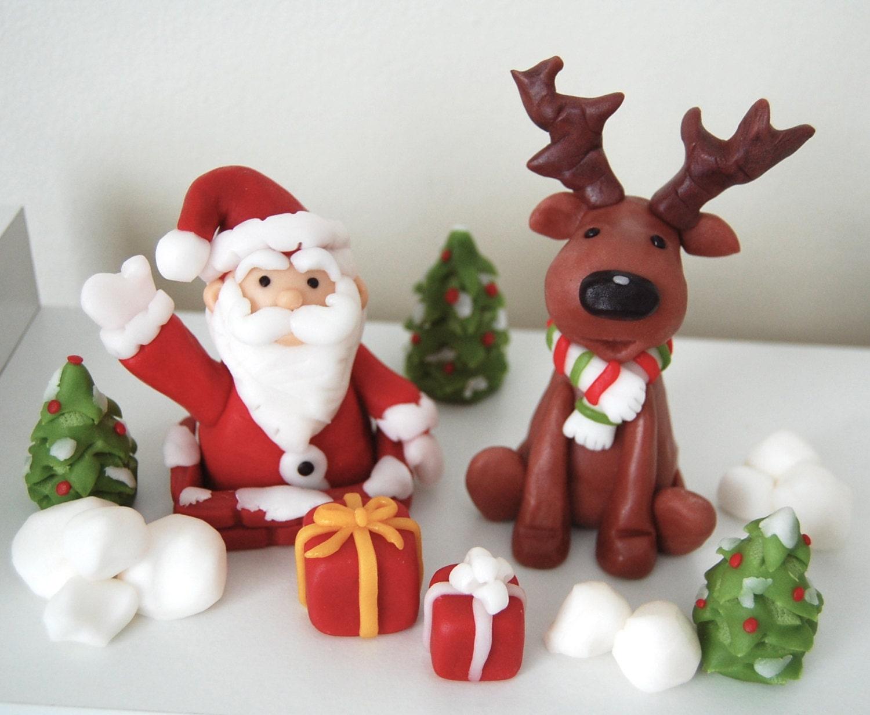 Etsy Cake Decor : Fondant Christmas Cake Decorations