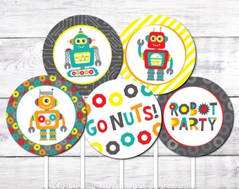 """Robot Party 2"""" Cupcake Toppers (Printable Robot Birthday Cupcake Toppers)"""