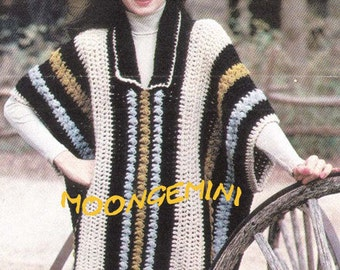 Crocheted Poncho Pattern Vintage Crochet 1970s PDF Instant Download