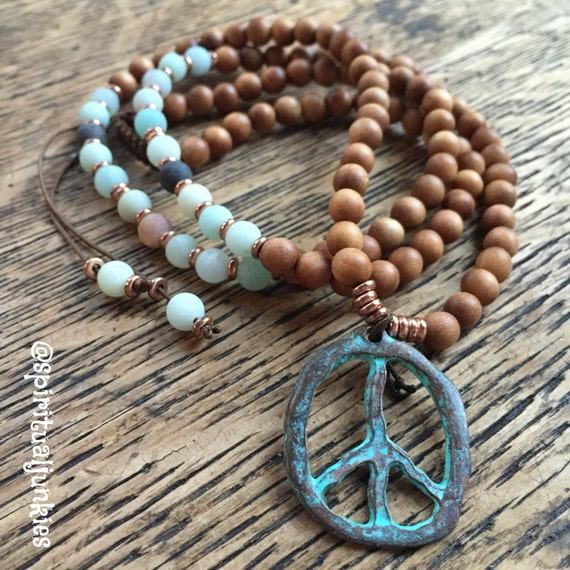 108 Bead Sandalwood, Amazonite, + Peace Pendant Yoga and Meditation Mini Mala