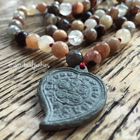 108 Bead Handknotted Faceted Sunstone, Black Sunstone, Red Tigers Iron + Thai Heart Amulet Spiritual Junkies Yoga and Meditation Mala