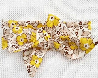 Baby girl headwrap {Yellow Pansy} fabric bows, handmade bows