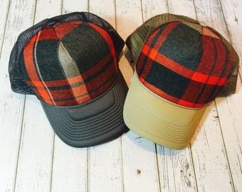 plaid trucker hat for him or her, plaid hat, plaid fashion, plaid, flannel, fall fashion, fall, fall trucker hat